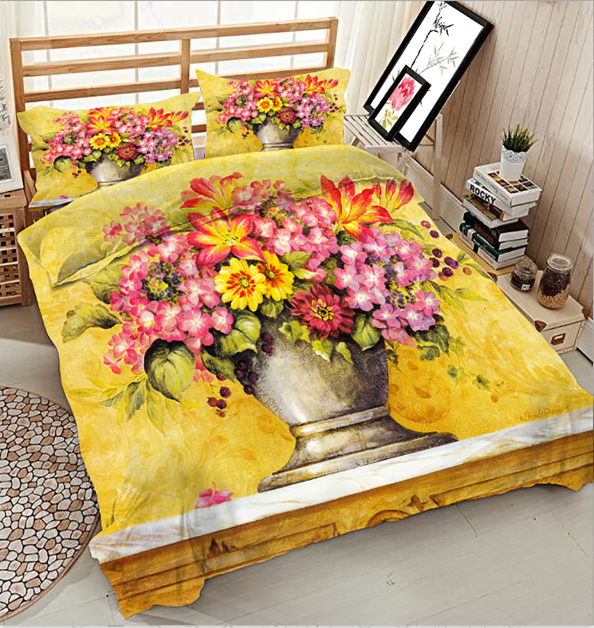 fashion flowers Twin Full drap de lit 4 piece 3D printed polyester bedding set queen king