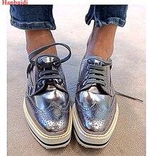 Hanbaidi Platform Leather Brogues Oxford Women Shoes Lace Up Espadrille Platform Casual Shoes For Woman Silver Black Shoes 40
