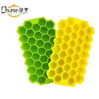 Honeycomb Pattern Ice Cube Tray Soft Silicone Colorful Ice Cube Tray 37 Hexagon Pieces Of Ice