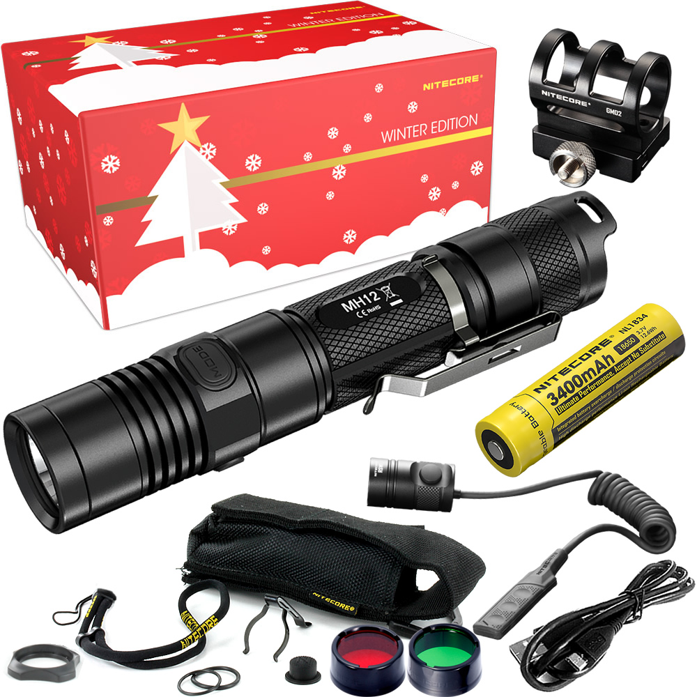 2018 NITECORE Hunting Holiday Gift Set MH12 1000Lms USB Rechargeable Flashlight for Outdoor Hunter Portable Torchs Free Shipping 2017 nitecore riding holiday gift set mh12 1000lms usb rechargeable flashlight for outdoor bicycle portable torchs free shipping