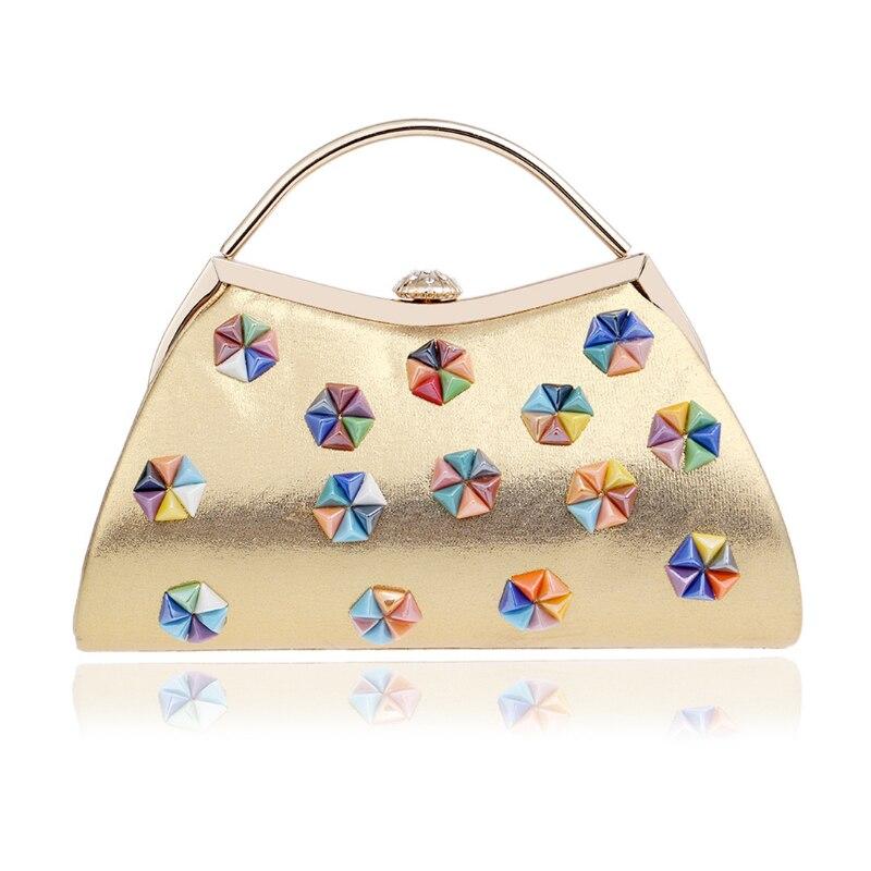 Homeda Evening Bag Diamond Metal Hasp Rivets Woman Banquet Messenger Bag Ladies Solid Modern Bolsos Bandolera Mujer Q-49 монетница no hasp sh bag 055 q