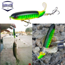 Купить с кэшбэком Whopper Popper 8.5cm 13.5g Wobblers Topwater Fishing Lure Artificial Bait Hard Popper Soft Rotating Tail Fishing Tackle Geer