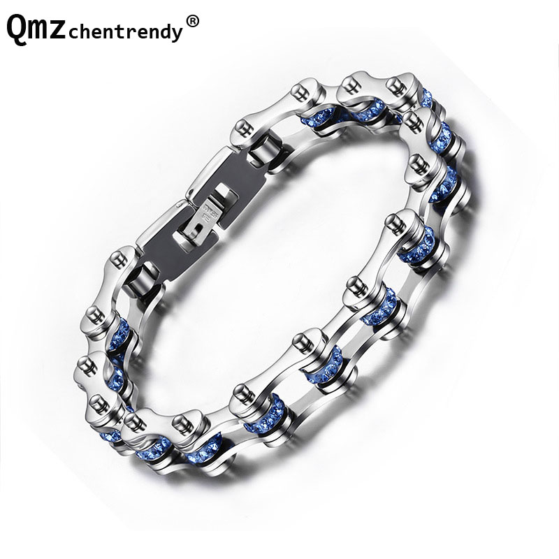 Stainless Steel Men Women Motorcycle Chain Bracelets Cuff Wristbands Punk Jewelry Secondary Color Brace lace Trendsetter Pulsera