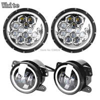 7 Inch Led Round Headlight With DRL 4 Inch Led Fog Lights With Halo For Jeep