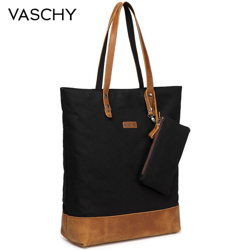8dd395a919 Vaschy Travail Les L'eau Cuir Résistant Leather Femmes Black gray En Grand  Toile Leather Canvas Bandoulière Shopper Sac ...