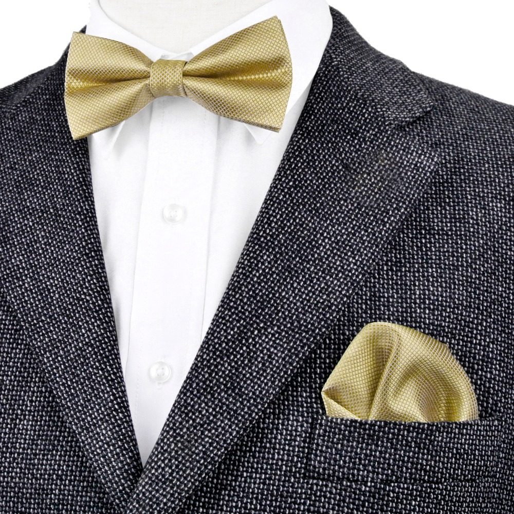 Free Shipping Solid Checked Gold Yellow Cream Mens Pre-tied Tuxedo Bow Tie Hanky 100% Silk Adjustable Wholesale Casual Wedding