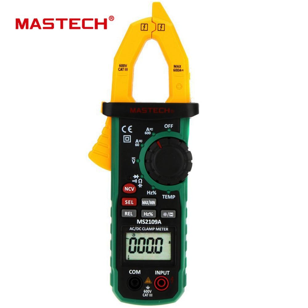 Mastech MS2109A Gamme Auto Numérique AC DC Current Clamp Meter Multimètre HZ Temp Capacité Testeur avec NCV Détecteur