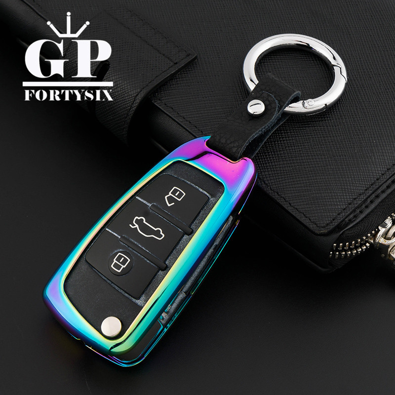 New Car Key Cover Shell Zinc Alloy+Leather Chain Metal Smart Key Case for Audi Sline A3 A5 Q3 Q5 ...