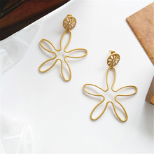 Simple fashion gold color Silver plated geometric big round earrings for women hollow drop jewelry