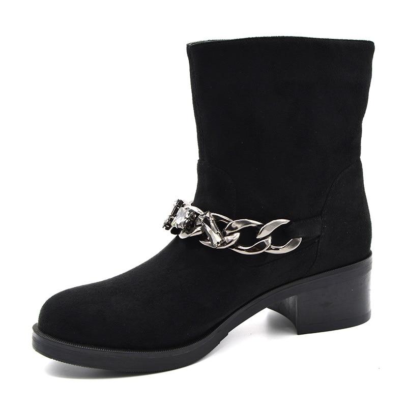 Hiver femmes élégantes bottines de haute qualité à talons bas sans lacet dames européennes chaussures de confort troupeau noir boucle chaîne bottes de neige