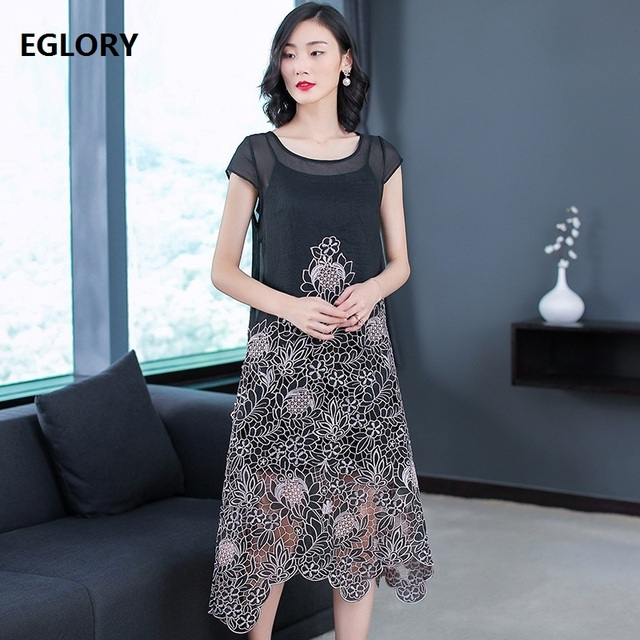 High Quality Brand New Fashion Party Elegant Dresses 2019 Summer Women O-Neck Short Sleeve Hollow Out Lace Embroidery Dress Pink