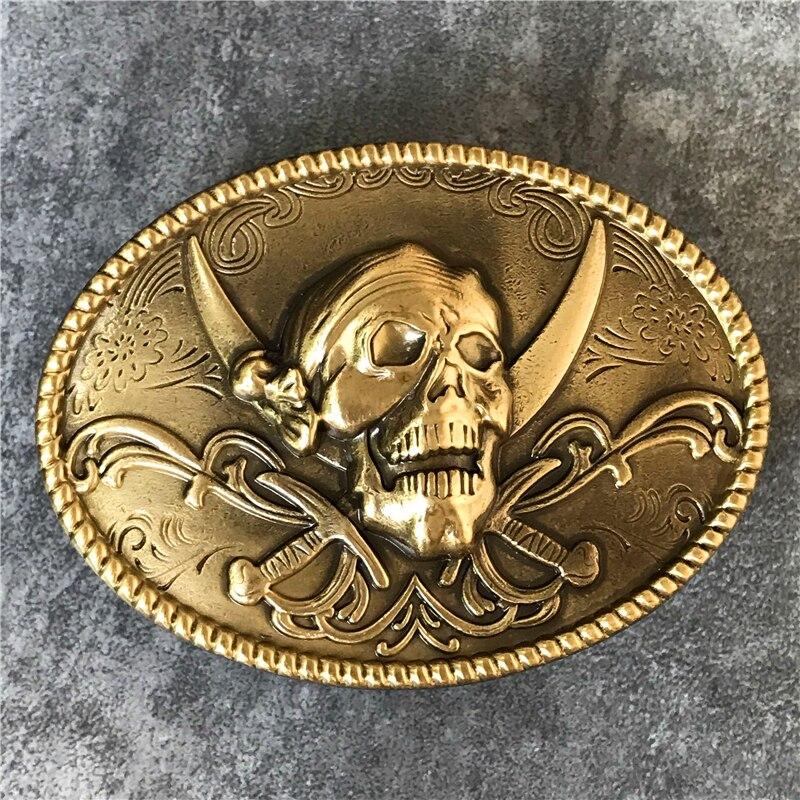 3D Skull Belt Buckle Brass Men Belt Diy  Belt Accessories TOP Quality Punk  Buckle Cowboy Luxury Belts Buckle Metal Men BK0082