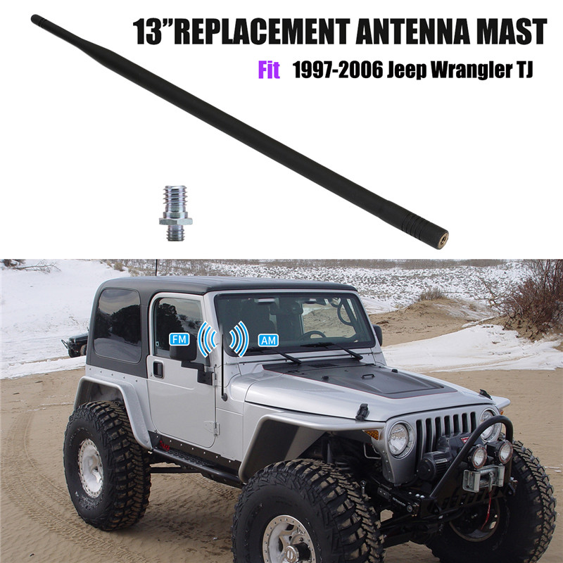 Exterior Parts Grade Products According To Quality Adaptable 13inch 6mm Fm Antenna Mast Radio Antena Auto For Jeep Wrangler Tj 1997-2006 Car Roof Fm Am Signal Reception Aerial Wisengear Auto Replacement Parts