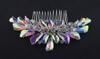 Top Quality Aurora Color Bridal Hair Comb Rhinestone AB Crystal For Brides Hair Wear Jewelry Wedding