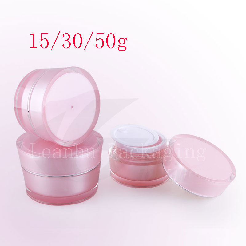 15g 30g 50g  Cone Shape Acrylic Cream Container Pink Cosmetic Cream  Bottle ,Cosmetics Packaging Pot Tin, Skin Care Makeup Can 100 pcs cosmetic bottle screw flat cover beautiful beauty skin care bottle washing and bathing dew storage container 20ml