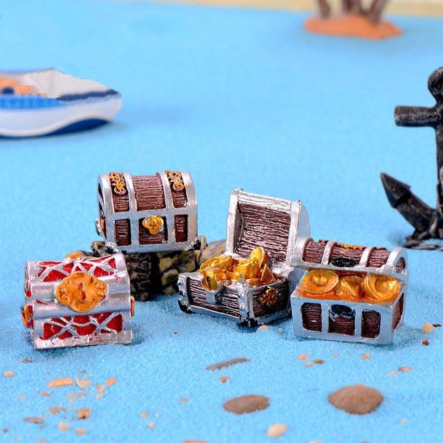Figurines Miniatures artisanales en résine | Coffre à monnaie or, Miniatures de jardin de fée, Mini accessoires bricolage daquarium, décorations pour la maison 4 pièces/lot