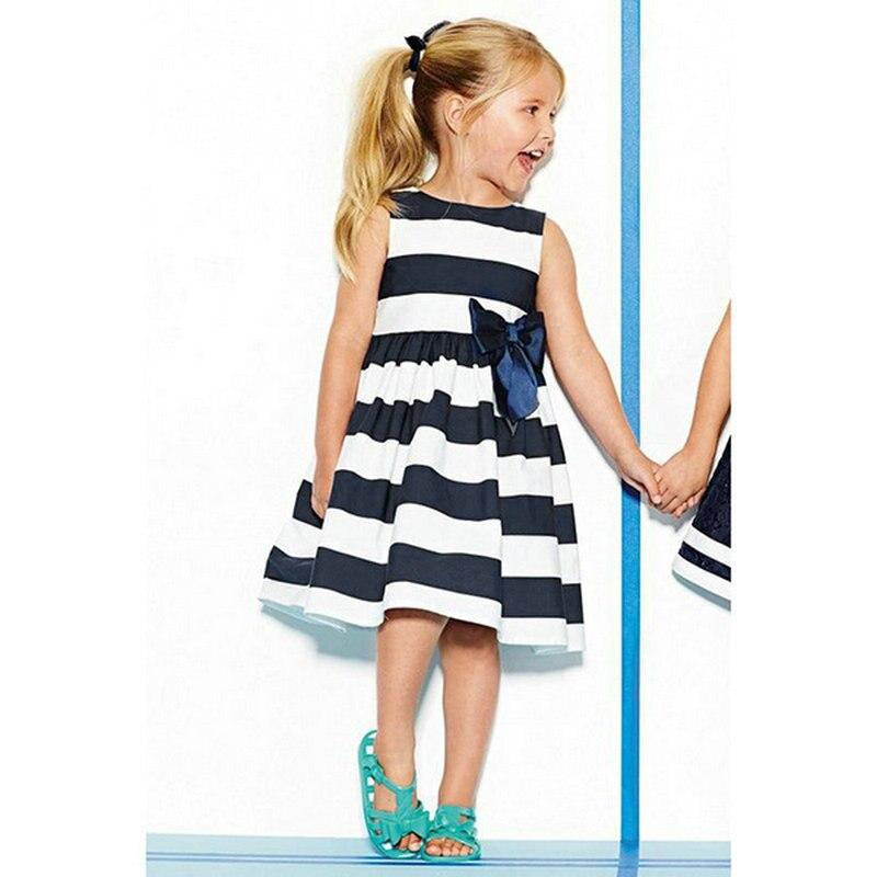 Платье без рукавов для девочек и малышей в синюю полоску с бантом летнее платье-пачка Vestido