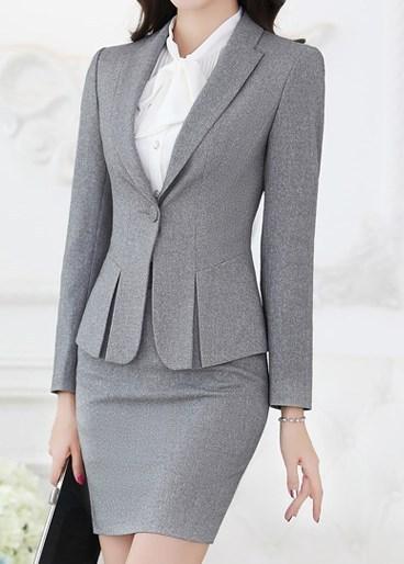 a099c4396 Diseño uniforme Rojo Negro Gris Trajes de Negocios Formales de Oficina Para  Las Mujeres trabajo de