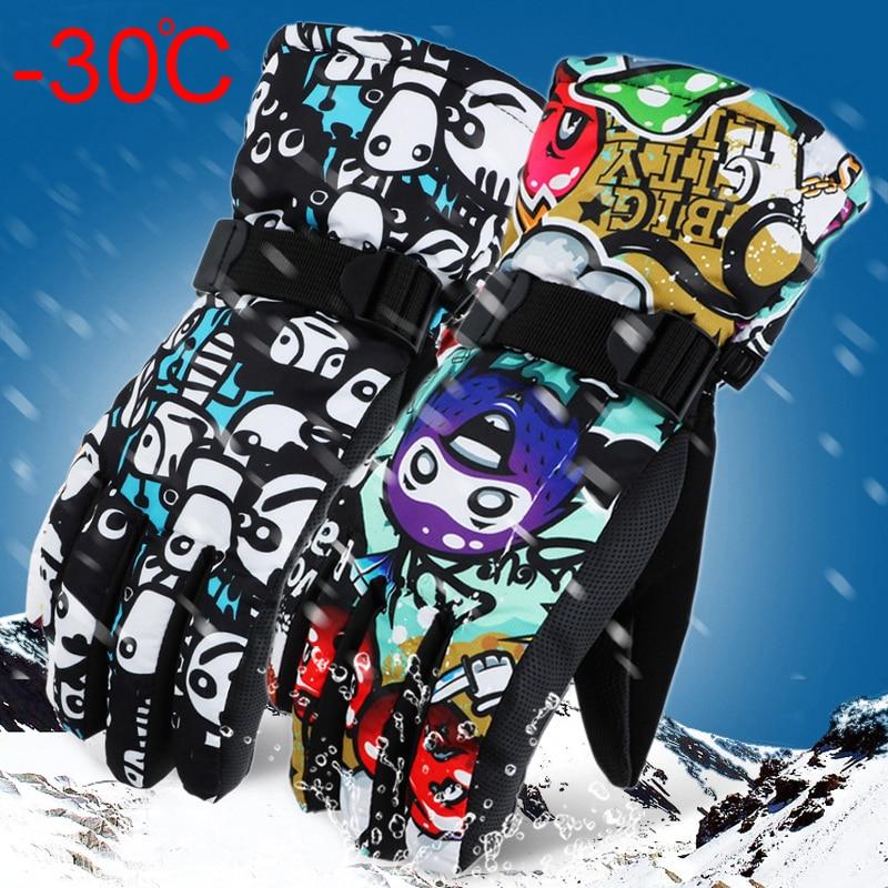-30 Grad Winter Warme Snowboard Ski Handschuhe Wasserdicht Verdicken Skifahren Handschuhe Schneemobil Motorrad Schnee Monster Gekritzel Gedruckt