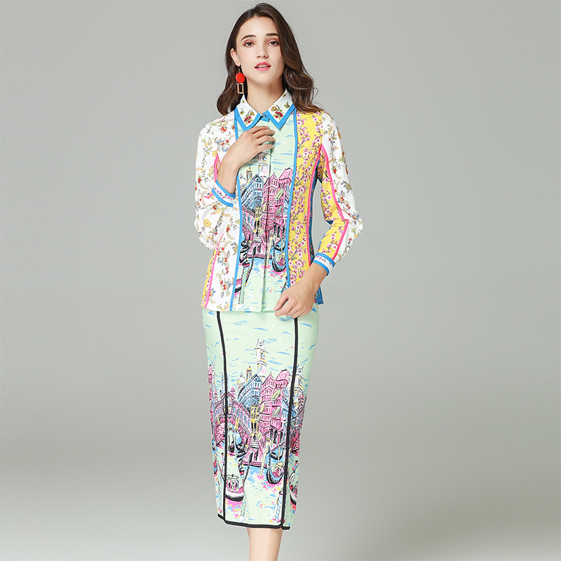 Collar Haute Automne Turn Mince Mode Qualité Jolie 2018 Femme Doux Costumes D'impression Manches down Jupes Pleine Shirts Ensembles De qxBYBRdw