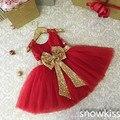 Новое прибытие красный колен кружева красивый цветок девочки платья дети первое причастие платья малыша вечернее бальные платья
