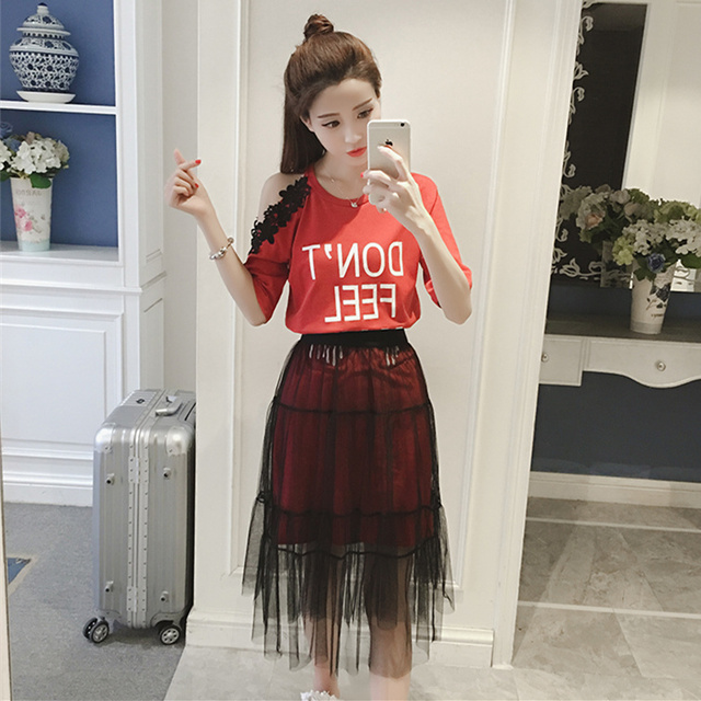A Set Girl Clothing Summer Dress Suit Lace Letter Printing Short Sleeve Long T Shirt & Gauze Skirts Two-Piece Outfit S- 3XL 4XL