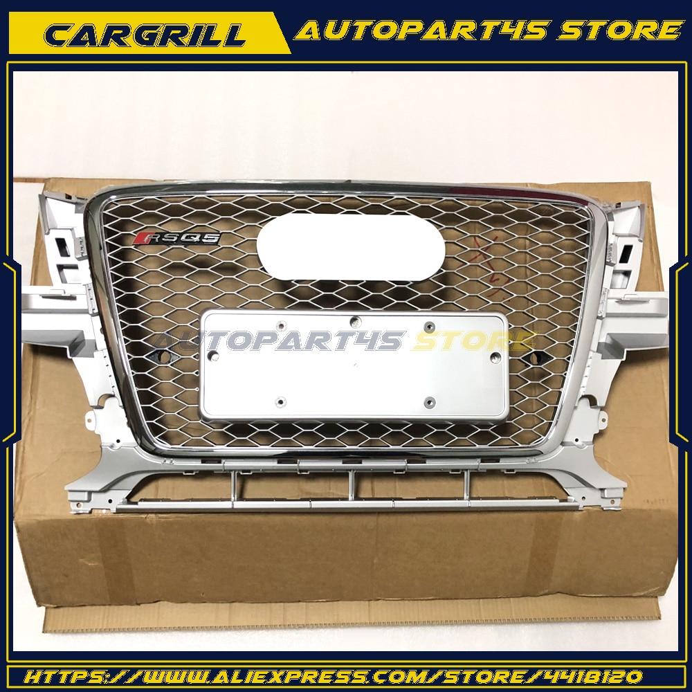 Серебряный RSQ5 передней решетки гриль рамка Bumpes вафельная Fit Audi Q5 2010 2012