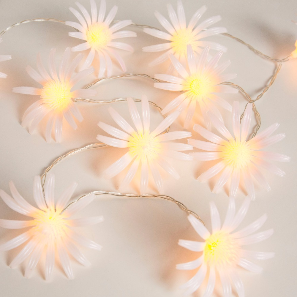 8CM 20 Daisy chrysanthemum Flower Battery Operate String Lights Decorative LED fairy Lig ...