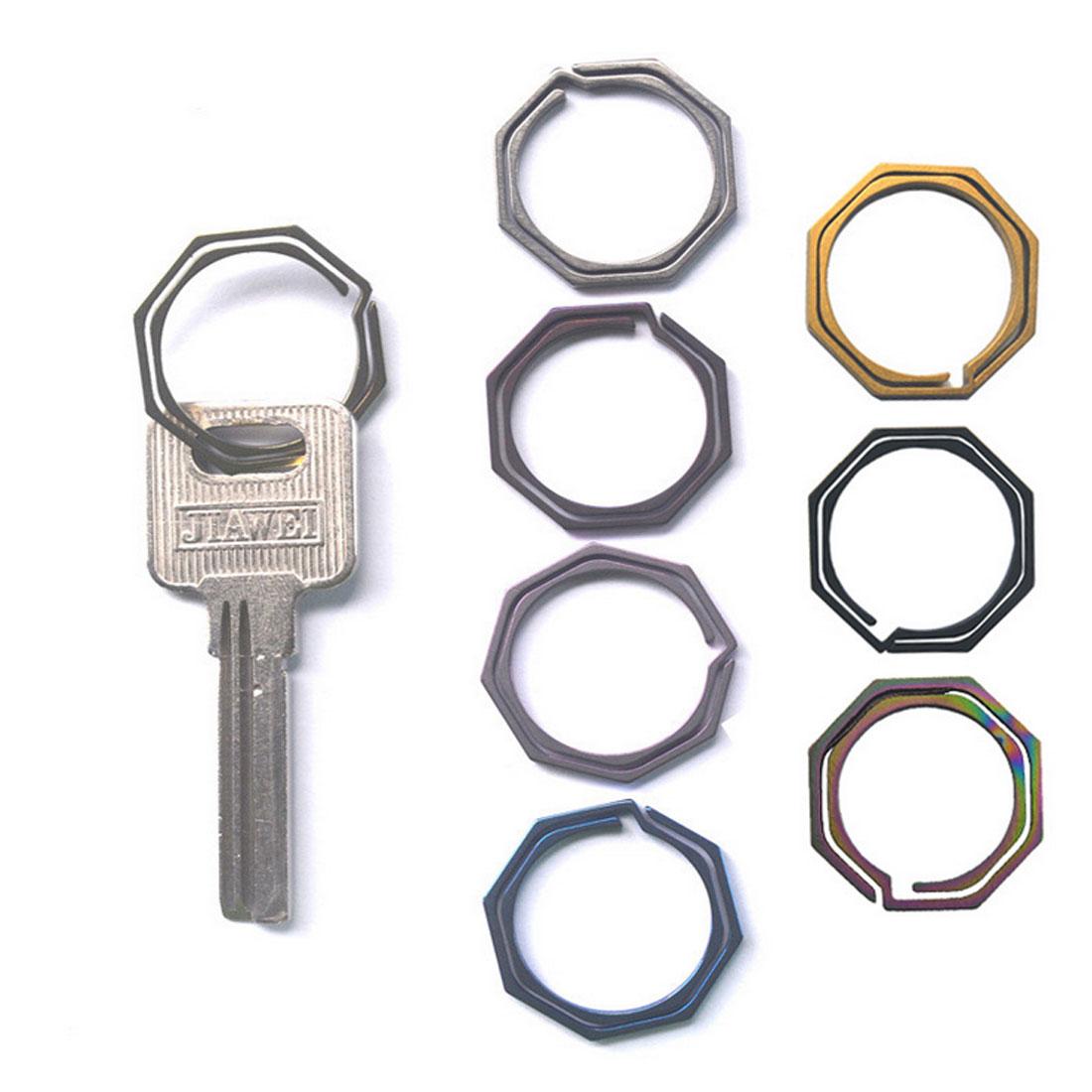 Gadget Titanium Alloy EDC Split Ring Key Chain Keyring Buckle Circle Octangle