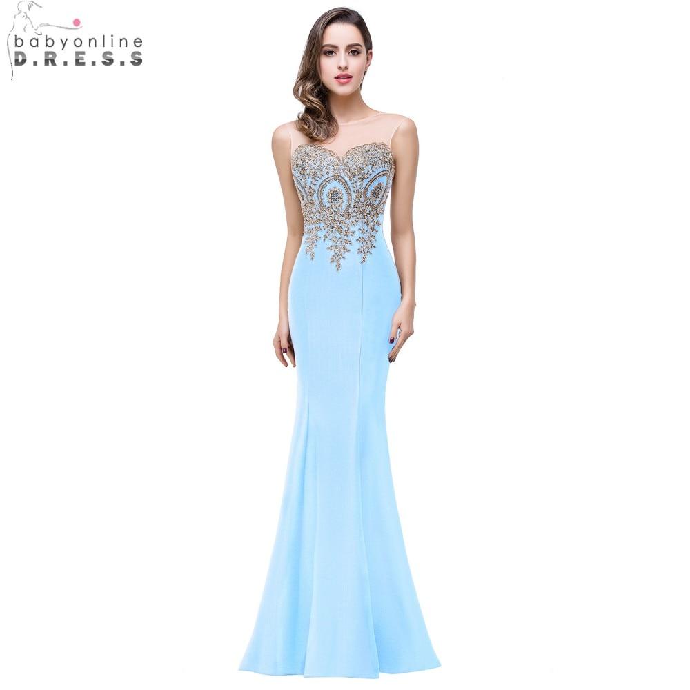 Cheap Sheer Gold Applique Royal Blue Lilac Mermaid Bridesmaid Dresses 2018 Long Wedding Party Dress robe demoiselle d'honneur