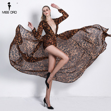 Missord 2019 Sexy Women Deep V Long Sleeve Leopard Rompers Elegant Female Playsuit FT18540