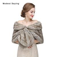 New 2017 Grey Warm Faux Fur Wedding Shrugs Imitation Rex Rabbit Fur Bridal Shawls Wrap Jackets