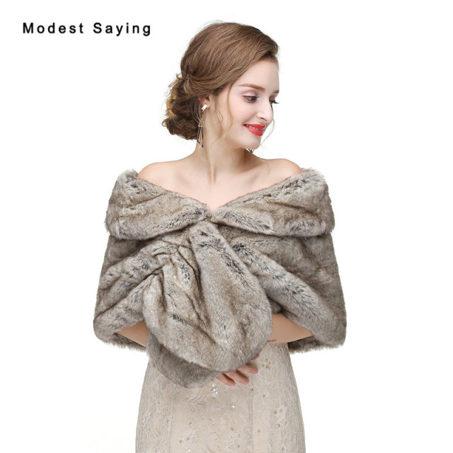 New 2017 Grey Warm Faux Fur Wedding Shrugs Imitation Rex Rabbit Bridal Shawls Wrap Jackets