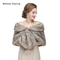 Yeni 2017 Gri Sıcak Faux Kürk Düğün Omuzlarını Silkiyor İmitasyon Rex Tavşan kürk Gelin Şallar Wrap Ceketler Resmi Bolero Düğün Aksesuarları