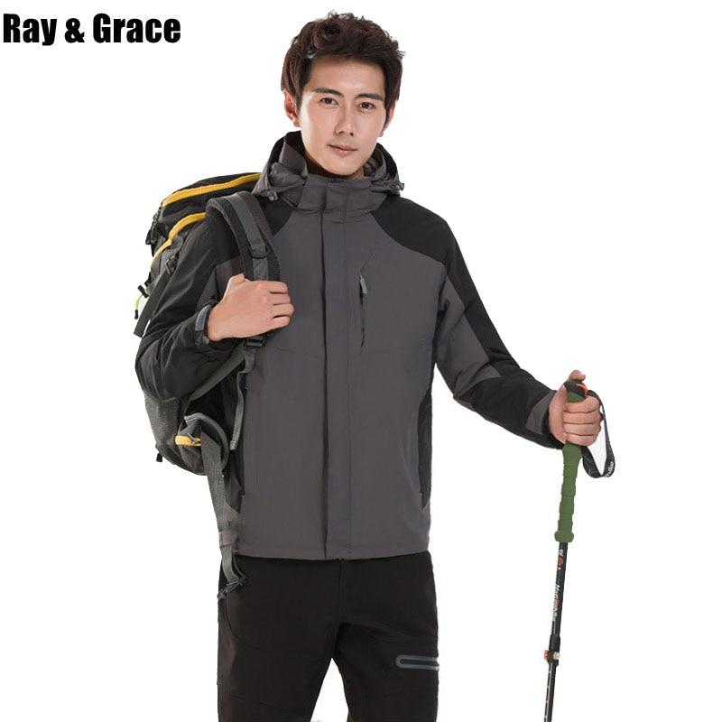 RAY GRACE Outdoor Winter Waterproof Jacket Men 3 in 1 Windbreaker Thermal Fleece Hiking Jacket Camping Trekking Men's Coat