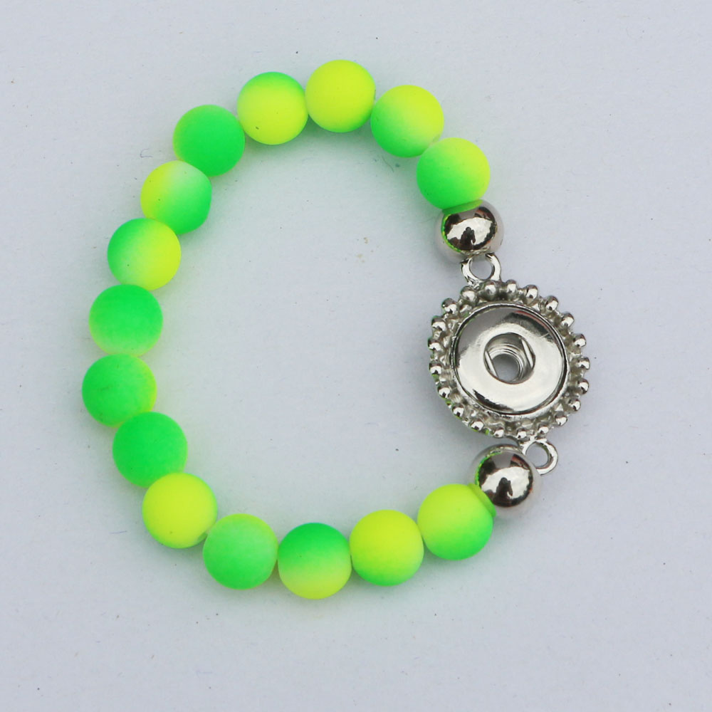 2PC New Children Girls Diy Snap Jewelry Blue&Green Color Rubber Beads Handmade 12mm Snap Button Bracelet 15CM For Kids