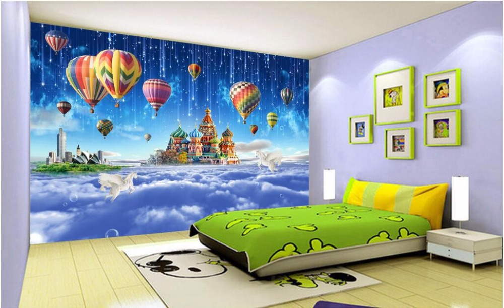 Custom photo mural 3d wallpaper children room star castle for Children s mural wallpaper