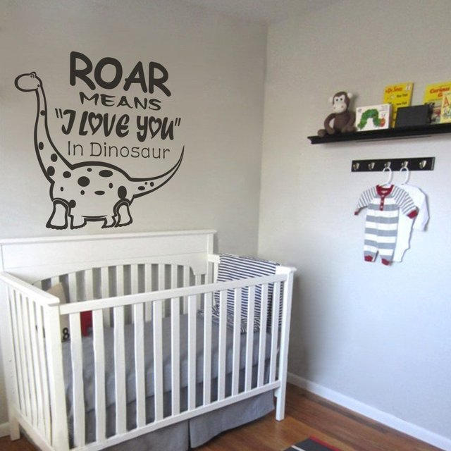 High Quality Cool Roar Means I Love You   Dinosaur Wall Sticker  Kids Room Wall Decal  Vinyl Lettering For Kids Room Decoration