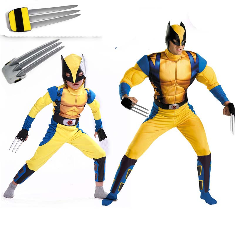 children Adult men Avengers Wolverine  costume movie charater halloween muscle costume for kid