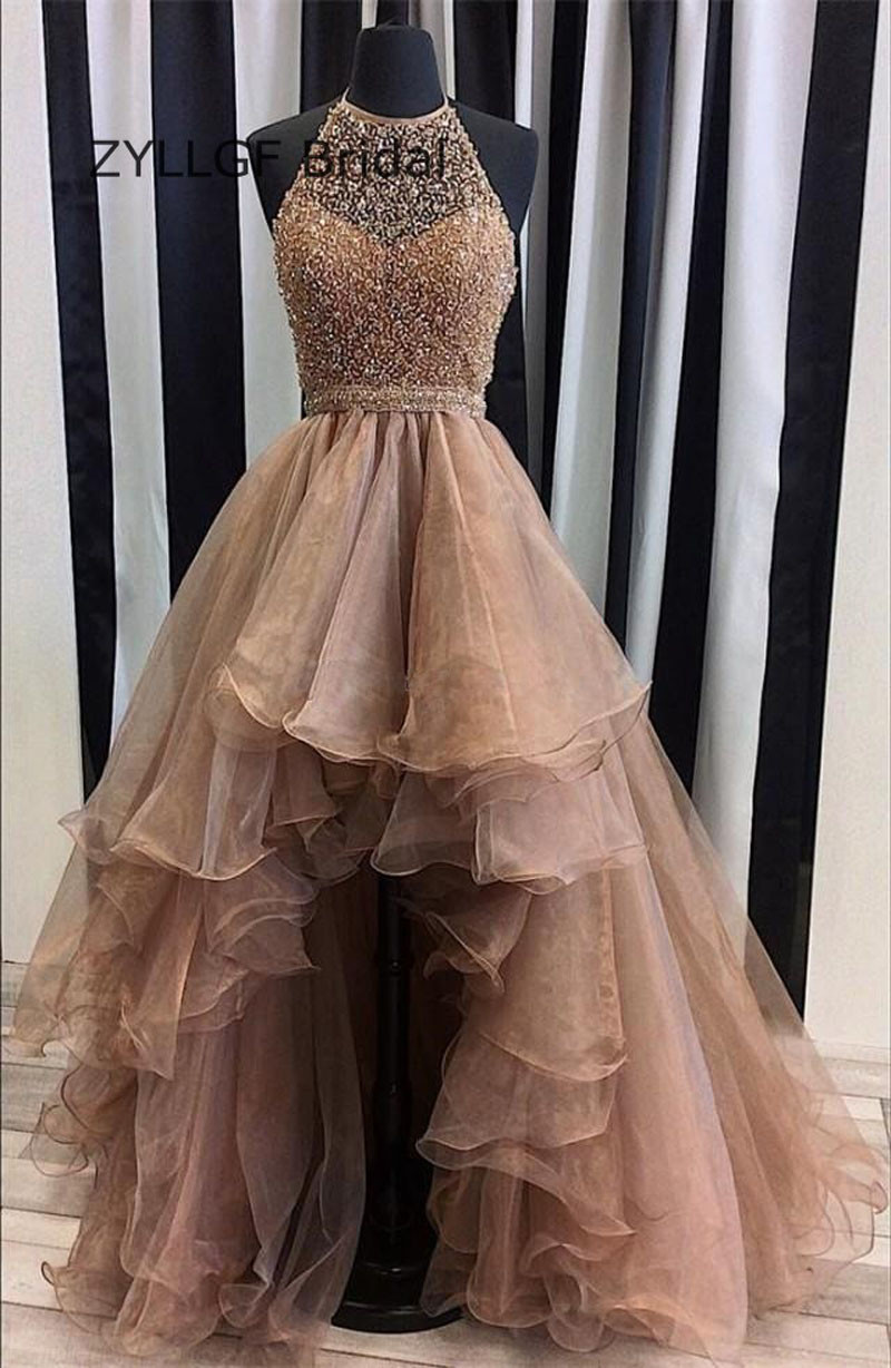 ZYLLGF Asymmetrical Beaded High Low   Prom     Dresses   Short Front Long Back Organza   Prom   Party Gowns   Dress   TS69