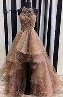 Zyllgf асимметричный бисером Высокий Низкий Подружкам невесты короткое спереди и длинное сзади органза Свадебная вечеринка платья платье ts69