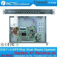 Internet yönlendirici ROS 8 Gigabit akış kontrol ile güvenlik duvarı durumda Intel 1000 M 6 82583 V 2 Gigabit 82580DB fiber Portu H67 LGA1155 işlemci