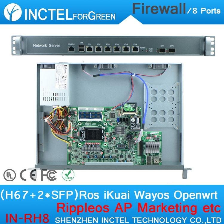 Internet router ROS 8 Gigabit flow control firewall case with Intel 1000M 6 82583V 2 Gigabit 82580DB fiber Port H67 LGA1155 cpu network routers with 6 intel pci e 1000m 82574l gigabit lan intel dual core i3 3220 3240 3 3ghz with mikrotik ros 2g ram 32g ssd
