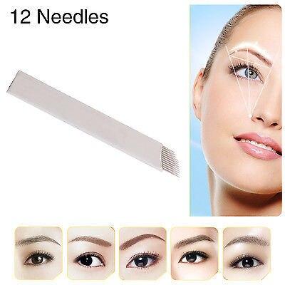 50 PCS Permanent Makeup Manual Eyebrow Tattoo Bevel Blades 12 Needles