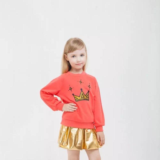 Novatx crianças conjuntos de roupas de outono nova moda ternos do corpo camisola e dress menina conjuntos de elementos de metal impressão dos desenhos animados terno de saia