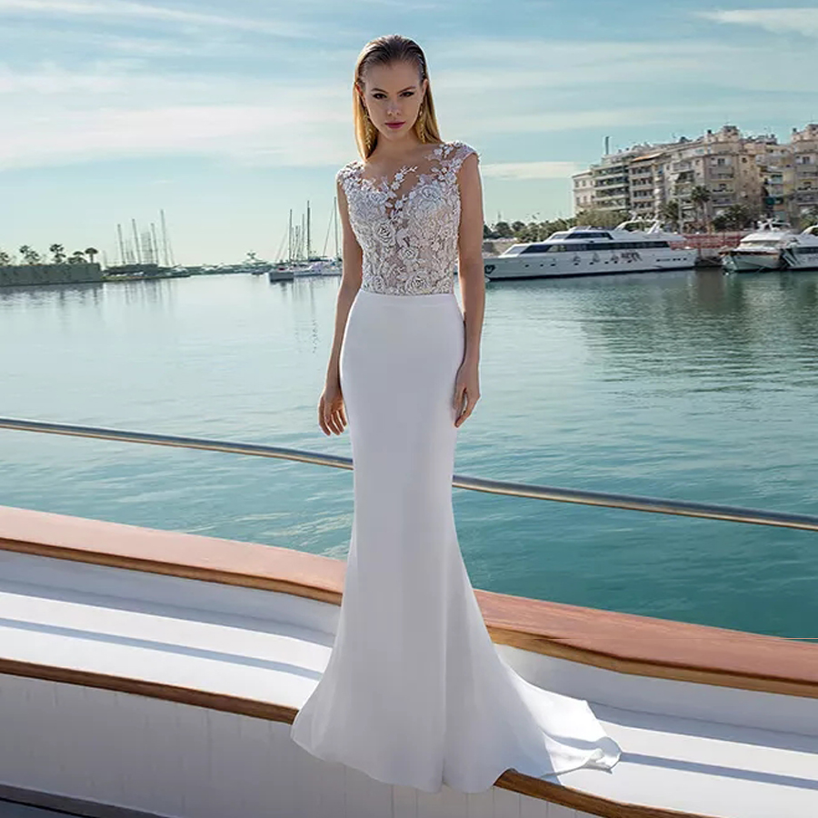 Ornate Beaded Flower Embroidery Embellishes Illusion Neckline Wedding Dress Low Back Sheath Beach Bridal Dress