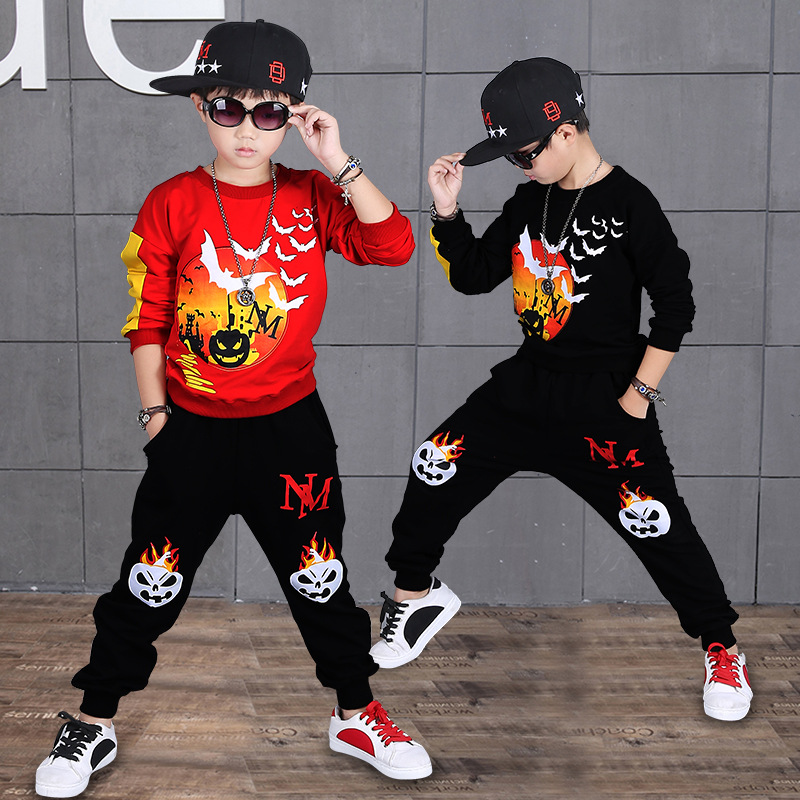 Hip Hop Boy Cartoon Halloween Pumpkin Pattern Clothes Suits Casual Clothing Sets Children Suit Sweatshirts+Sports Pants Kids Set