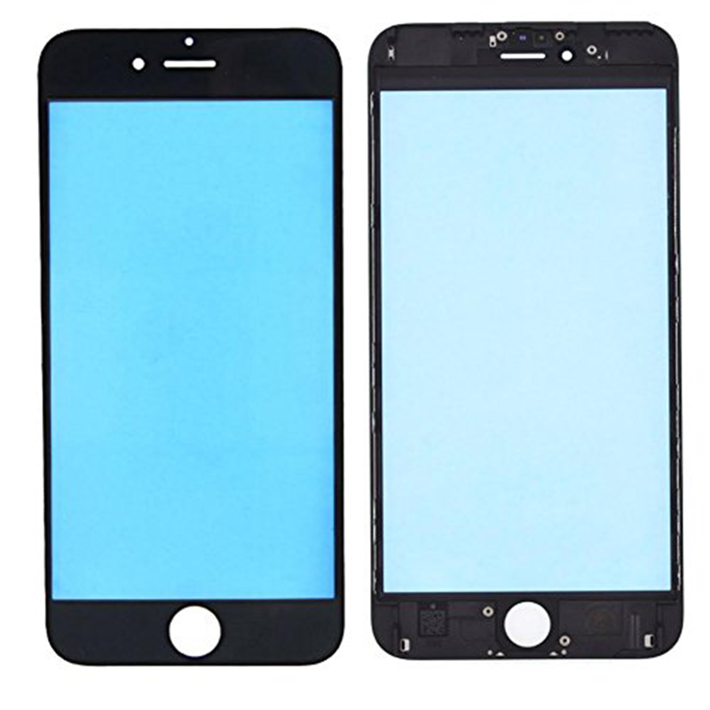 HOUSTMUST Replacement LCD Front Touch Screen Glass Outer Lens with frame film for iPhone 6 6s 6 Plus 7 7 Plus Black White image