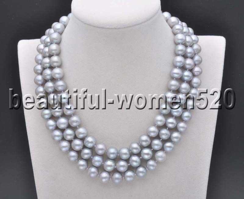 Z7690 A++ 11mm Round Gray Freshwater Culture PEARL Necklace 50inchZ7690 A++ 11mm Round Gray Freshwater Culture PEARL Necklace 50inch