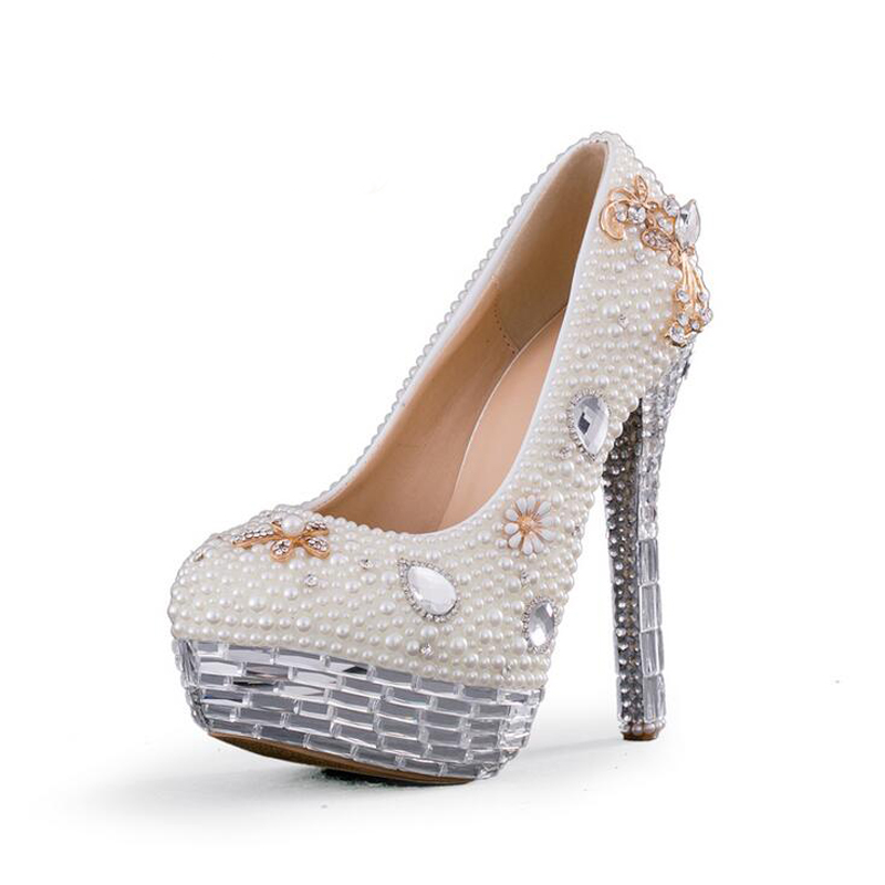 Luxury Rhinestone Platform Formal Shoes Crystal Wedding Shoes White Pearl Bridal Dress Pumps Event High Heels Bridal Dress Shoes white pearl high heel shoes crystal platform bridal wedding shoes diamond rhinestone women shoes formal gown prom shoes